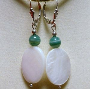 Jewelry - Shell & Banded Agate Sterling Silver Earrings